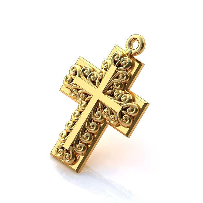 Золотой крестик с орнаментом