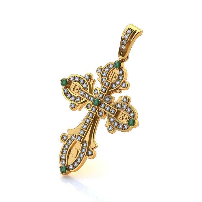 золотой крестик с изумрудами и бриллиантами