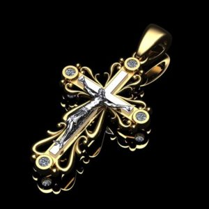 Золотой крестик с орнаментом 4 бриллианта