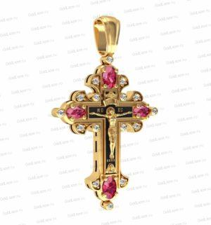 Золотой крестик с бриллиантами и сапфирами