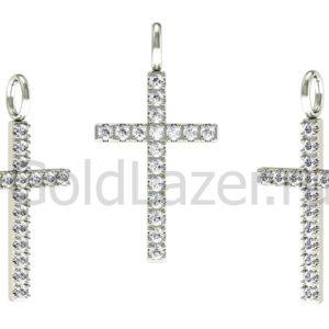 Золотой крест 17 вставок бриллиантов
